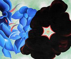 Georgia O'Keeffe,   Black Hollyhock Blue Larkspur,  in 1929 - 1930