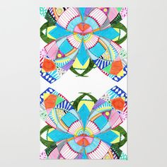 Blossom Area & Throw #Rug by Heaven7 - $28.00 #Blossom #Heaven7 #flower #geometric #colorful #whimsical #fanciful