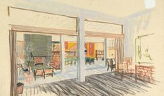 Knut Knutsen's sketch of the interior in the Royal Norwegian Embassy in Stockholm in Photo: Nasjonalmuseet / Dag Andre Ivarsøy. Stockholm, London, Interior, Painting, Color, Sketch, Design, Art, Sketch Drawing