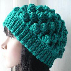 Emerald Green Crochet Hat/Womens Beanie/Chunky Hat/Gift For Women/Gift For Her/Womens Crochet Hat/Womens Scull Cap/Womens Crochet Scull Cap/ by GoldenAniel on Etsy