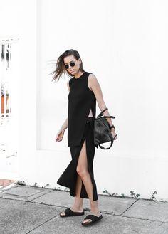 modern legacy, fashion blog, street style, all black, split skirt, Nomia, My Chameleon, Celine, slide sandals