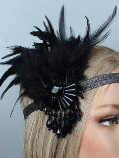 1920s Feather Flapper Headband – vintage1950s Hairband, Tulle Headband, Flapper Headband, Headbands, Great Gatsby Headpiece, Flapper Headpiece, Headpiece Wedding, Downton Abbey, Black Art