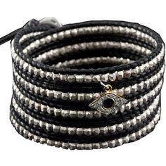 Chan Luu Sterling Silver Bead Wrap Bracelet ($420) ❤ liked on Polyvore featuring jewelry, bracelets, chan luu, beaded wrap bracelet, sterling silver bead charms, evil eye wrap bracelet, charm bangle y evil eye jewelry
