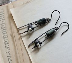 hammered oxidized wire dangle primitive earrings by jiorji on Etsy, $25.00