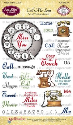 Call Me Soon Clear Stamps by JustRite Papercraft $16.95 #justrite, #clearstamps, #amytedder