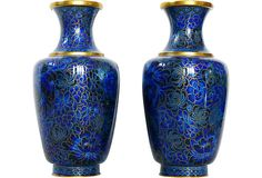 Blue Cloisonné Vases, Pair--- How gorgeous are these!!!!!
