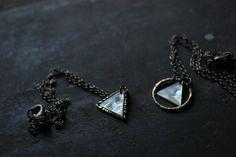 Minimalist Geometric textured brass triangle by xuanqirabbit