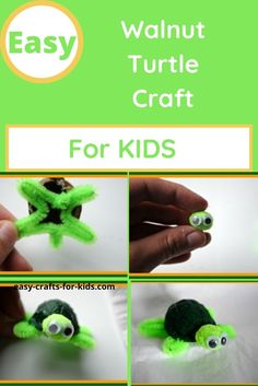Easy sea turtle craft. Learn how to turn a walnut into a turtle Animal Crafts For Kids, Easy Crafts For Kids, Fun Crafts, Epic Kids, Turtle Crafts, Turtle Painting, Cute Turtles, Creative Thinking, Sea