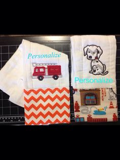 Fire fighter baby burp cloths boys on Etsy, $15.00
