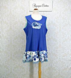 Womans XLRoyal Blue Sleeveless Tunic100% Linen