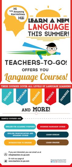 Learn a New Language This Summer! Visit our page at www.teachers-to-go.com #Education #OnlineTutoring #Language #HongKong #Japan