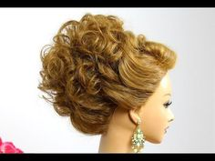 Hairstyle for medium hair. Wedding prom updo. Tutorial - YouTube