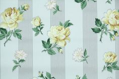 1940's Vintage Wallpaper - Floral Wallpaper with Yellow Roses and Daisies on Gray and White Stripe