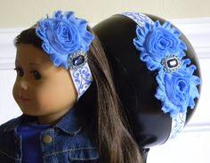 "Doll & Me Headband Blue Flower on White Glitter Band w/ Rhinestone Center Girl and 18"" Doll Accessory Christmas Birthday Gift Girl Dress up by HouseofHairDecor on Etsy"