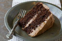 Grain Free, Paleo Chocolate Cake with Chocolate Buttercream via www.DeliciouslyOrganic.net