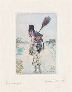 Artwork by James Ensor, Le Vidangeur, 1896 Made of Etching with hand coloring in watercolor