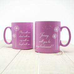 A wonderful way of asking your best friend to be your bridesmaid. Personalise with a name The words 'plan with mestand with mecry with melaugh with me' 'will you be my bridesmaid?' come as standard text Choose from pink or black mug. Bridesmaid Mug, Will You Be My Bridesmaid, Bridesmaid Proposal, Bridesmaids, Personalised Gifts For Him, Personalized Bridesmaid Gifts, Personalized Mugs, Love Gifts, Best Gifts