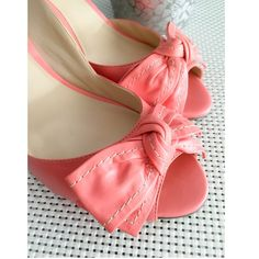 """Guess Pink Bow Heels Guess by Marciano • Pink Leather Pumps • Comes w/ Box, barely worn (too high for me) • See photo for bottom of shoe wear • Heels are approximately 4"""" w/ 1/2"""" platform  Guess by Marciano Shoes Platforms"""