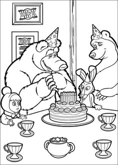 Masha and the Bear Coloring Pages 4