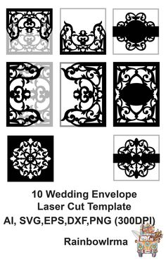 Excited to share the latest addition to my #etsy shop: 10 Wedding invitation envelope laser cut template, 2 ribbon for card 5x5, 5x7 . AI* Png* Eps* SVG* DXF* jpg* files Silhouette Cameo, Cricut http://etsy.me/2DMphdM #weddings #invitation  #invitations #cricut#cut out