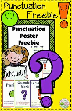 Punctuation poster freebie, which includes a period, exclamation mark and question mark.