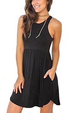 e56e85f4c11ee0 Unbranded Women s Sleeveless Loose Plain Dresses Casual Short Dress with  Pockets  dresses  shortdresses