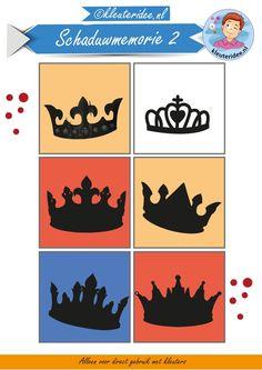 Schaduwmemorie bij thema koningsdag 2, kleuteridee, Crownmemory free printable. hoort bij kronenmemorie