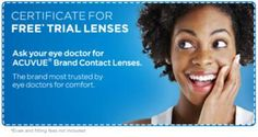 FREE Acuvue Brand Trial Contact Lenses on http://www.freebiescouponsdeals.com/