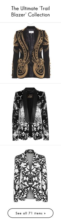 """The Ultimate 'Trail Blazer' Collection"" by dazzlingdondiva ❤ liked on Polyvore featuring outerwear, jackets, blazers, coats, coats & jackets, black, tailored blazer, embroidered blazer, beaded jacket and black beaded jacket"