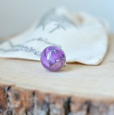 real flower necklace resin necklace purple by EightAcorns on Etsy