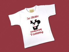 Handsome Valentine Skunk Top with Embroidered Name by SunbeamRoad, $24.00