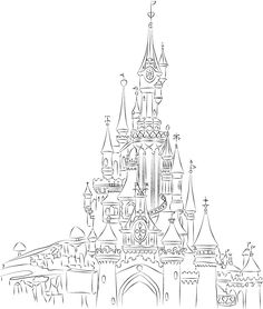 Disneyland Paris Castle Line Art by champk.deviantart.com on @deviantART