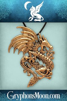 """Bronze Dragon Pendant - Drawn from ancient legends and age-old myths, the dragon is a fearsome enemy, but a treasured protector, if you can attract one's favor. Our dragon pendant measures 2 1/8"""" tall, and hangs from a 33"""" black cord. Made of bronze. Order yours today! #Dragon #Dragons #HereBeDragons #DragonPendant #DragonNecklace #DragonJewelry #BronzeJewelry #BronzePendant #BronzeDragon #DragonLover #Fierce #Fantasy #PaganShop #WitchShop #BeTheMagic #EverydayMagic #GryphonsMoon Dragon Necklace, Dragon Jewelry, Bronze Jewelry, Bronze Pendant, Pagan Shop, Witch Shop, Moon Logo, Bronze Dragon, Great Father's Day Gifts"""