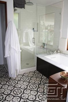 Custom Granada Tile in Our Normandy Cement Tile Design Adds Flair to a Los Angeles Bathroom
