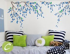 This wall decal with branches and birds will give your room the feeling of never ending summer in wilderness. Wall decals offer an easy and affordable solution to take on those blank walls without the need of hanging wallpaper or painting. Temporary vinyl wall decal is ideal for