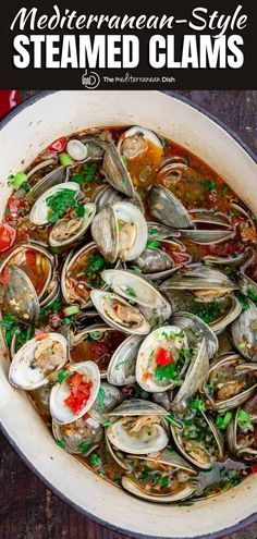 Hands down the BEST steamed clams recipe we've tried! And super easy to follow. You'll love the bright Mediterranean flavors in the garlic white wine broth! so good!!! Clam Recipes, Greek Recipes, Fish Recipes, Seafood Recipes, Cooking Recipes, Italian Recipes, Easy Mediterranean Recipes, Mediterranean Dishes, Mediterranean Style