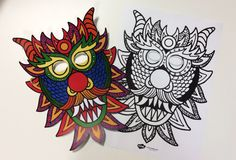 Print this bright, colourful dragon mask or colour in your own design for Chinese New Year.