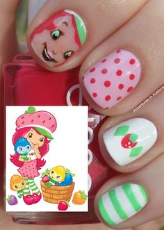 She's Very Sweet, Strawberry Shortcake... - Too cute for a girls birthday party to have their nails done like this!