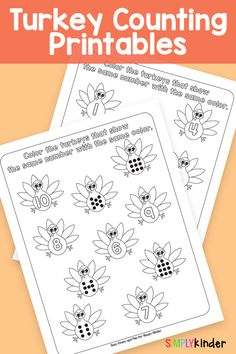 Check out theses adorable turkey math sheets! Perfect for kindergartners! Preschool Themes, Preschool Classroom, Classroom Resources, Preschool Learning, Teaching Math, Preschool Crafts, Thanksgiving Poems, Thanksgiving Activities For Kids, Kindergarten Thanksgiving