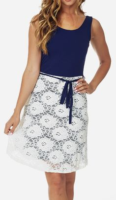 Navy Blue Lace Color Block Sleeveless Dress