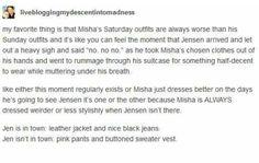 Misha dresses up for Jensen. Cockles. Destiel.