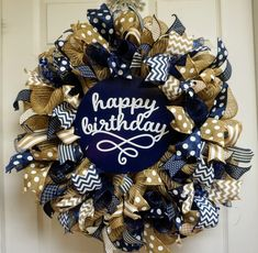 """This is a reserved listing for a custom birthday wreath. It has a birthday sign in the middle with a cursive """"Happy Birthday"""" font. Classroom Wreath, Teacher Wreaths, Classroom Decor, Happy Birthday Font, Man Birthday, Valentine Wreath, Valentines, Birthday Wreaths, Navy Ribbon"""
