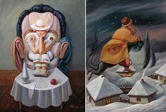 Художественный обман зрения, картины с двойным смыслом современного украинского художника. Олег Шупляк.1-я работа--Читающая Дали, 2-я работа--Полет Викулы.(Гоголь).