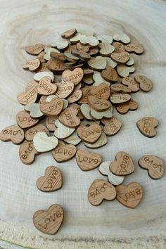 "100 Tiny ""Love"" Hearts ~ 1/2"" ~ Cute Little Wooden Hearts! Bridal Shower Decoration, Rehearsal Dinner, Engagement Party, Rustic Wedding"