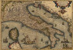 ✮ 1570 map of Italy  from Abraham Ortelius atlas, Theatrvm orbis terrarvm