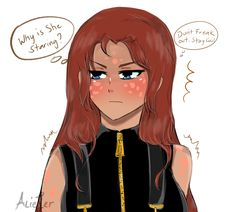 Ilia with her hair down.