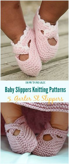 Garter St Slippers Baby Booties Free Knitting Pattern-Baby #Booties Slippers Free #Knitting Patterns