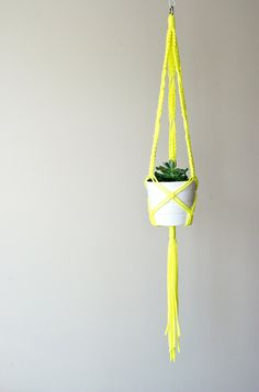 Modern macrame plant hanger / 50 inches long / Neon Yellow / White / gray / black / purple / red / green / blue / turquoise / orange /5 by TheVintageLoop on Etsy