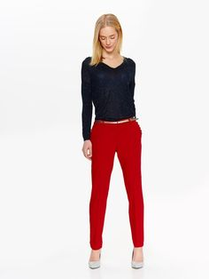 spodnie długie damskie  granatowe, czerwone - SSP2758 TOP SECRET