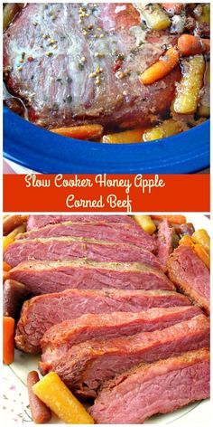 Three ingredient Slow Cooker Honey Apple Corned Beef made with only apple juice and honey is great for St. Patrick's Day or any day of the week. via @My Crazy Kitchen